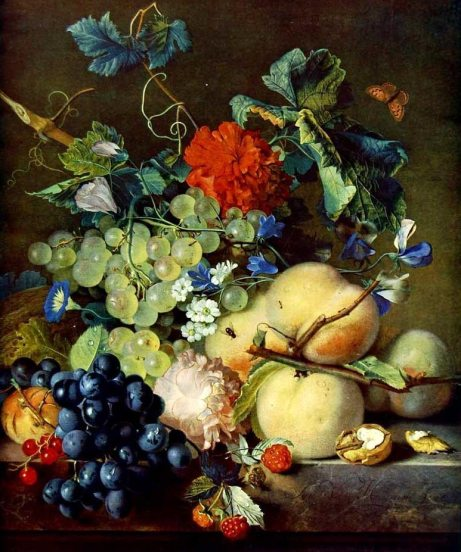 Jan van Huyusmun (1682-1749) - Still life with fruit and flowers 1